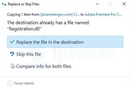 File active Registration.dll Adobe Premiere Pro 2019